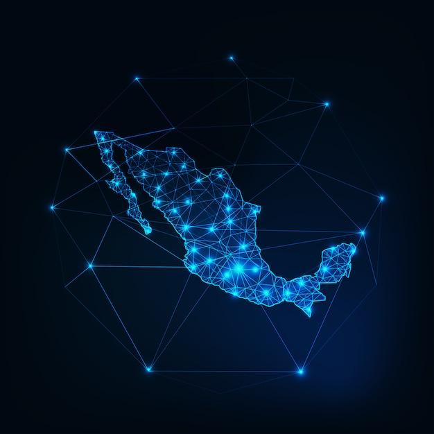 Esboço de mapa do méxico com estrelas e linhas de estrutura abstrata Vetor Premium