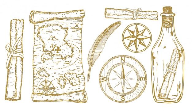 Esboço de mapa do tesouro. itens de aventura: bússola, mapa do tesouro em uma garrafa. viagens e aventuras mão desenhado conjunto Vetor Premium