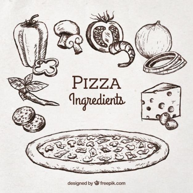 Esboço de pizza com ingredientes Vetor grátis
