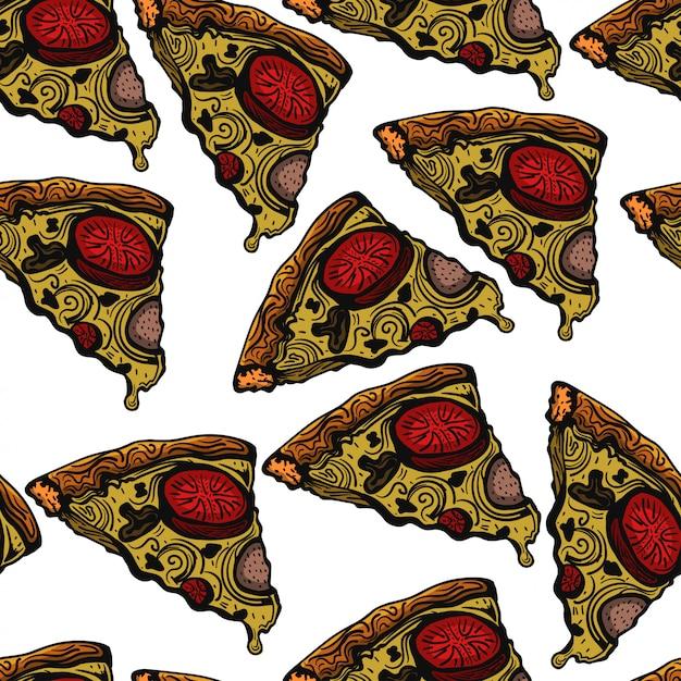 Esboço de pizza mão desenhada ilustração vetorial padrão Vetor Premium