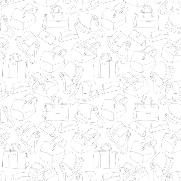 Esboço de sacos elegantes de mulher sem costura Vetor grátis