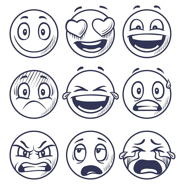 Esboço de sorrisos. doodle sorridente em emoções diferentes. Vetor Premium