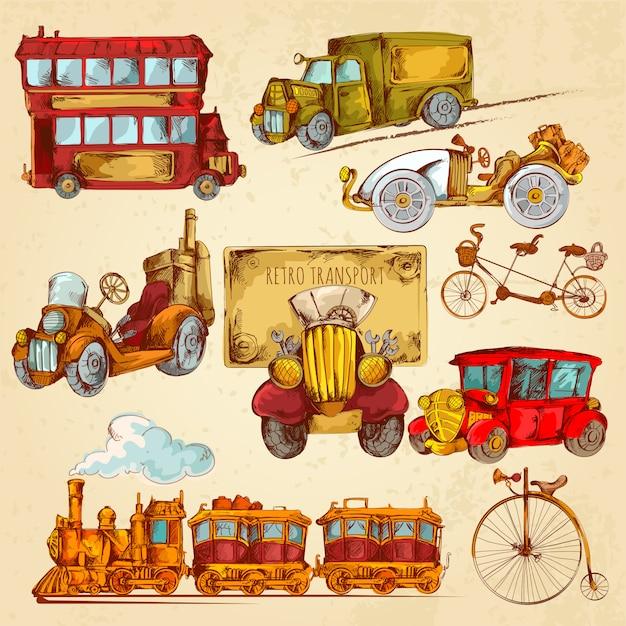 Esboço de transporte vintage colorido Vetor grátis