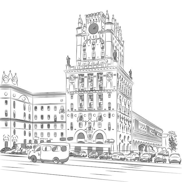 Esboço de um centro da cidade station square minsk belarus Vetor Premium
