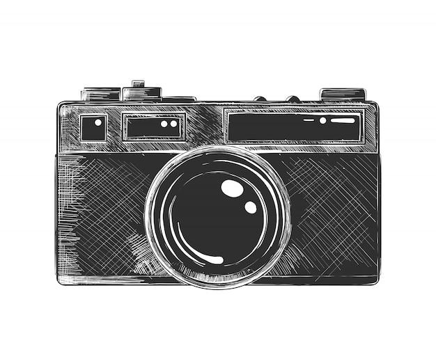 Esboço desenhado de mão da câmera em monocromático Vetor Premium