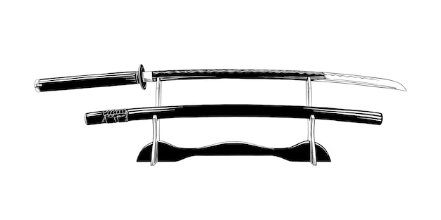 Esboço desenhado de mão da espada katana japonesa Vetor Premium