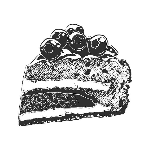 Esboço desenhado de mão da fatia de bolo em preto e branco Vetor Premium