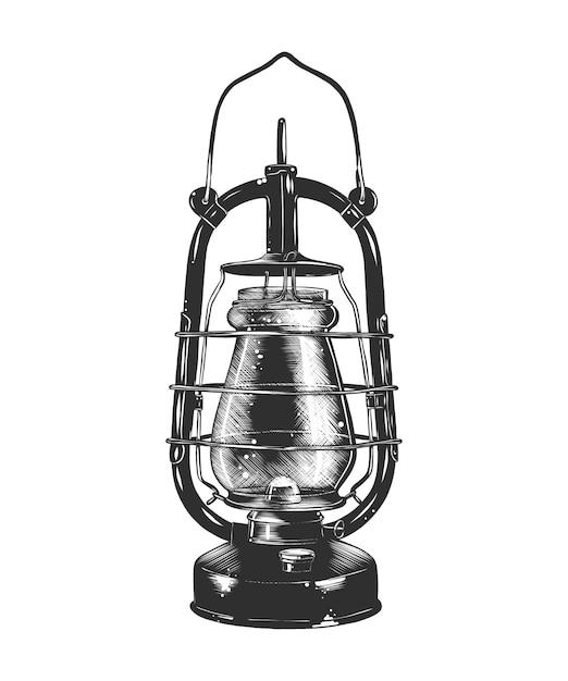 Esboço desenhado de mão da lâmpada de querosene em monocromático Vetor Premium