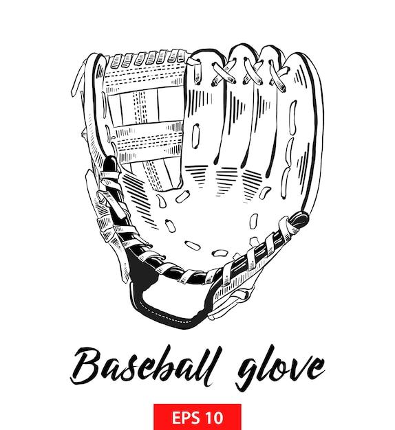 Esboço desenhado de mão da luva de beisebol em preto Vetor Premium