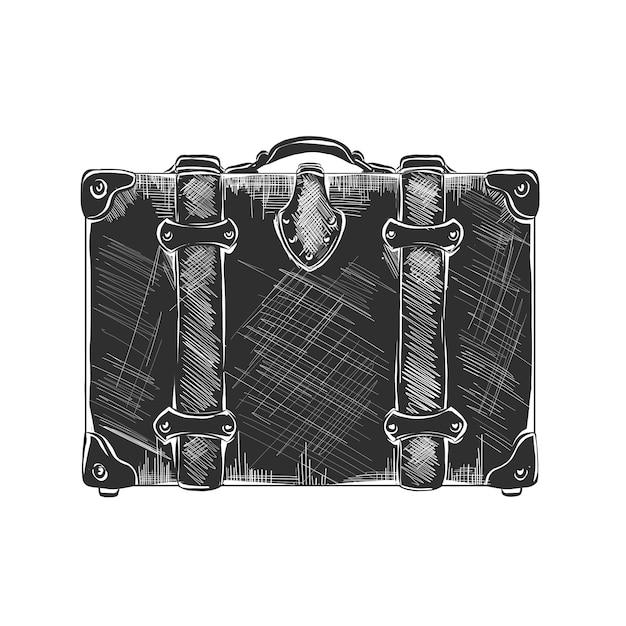 Esboço desenhado de mão da mala de viagem Vetor Premium