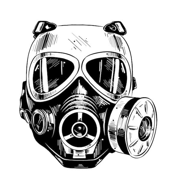 Esboço desenhado de mão da máscara de paintball Vetor Premium