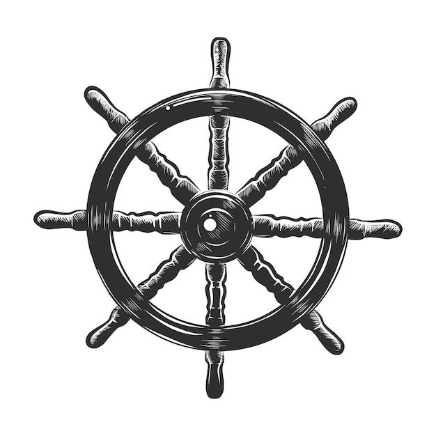 Esboço desenhado de mão da roda do navio em monocromático Vetor Premium