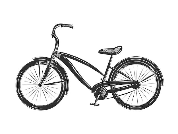 Esboço desenhado de mão de bicicleta em monocromático Vetor Premium