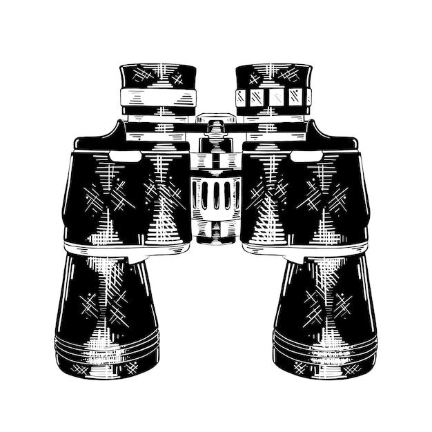 Esboço desenhado de mão de binóculos em preto Vetor Premium