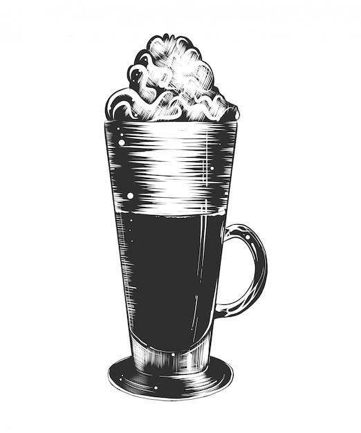 Esboço desenhado de mão de café com leite em monocromático Vetor Premium