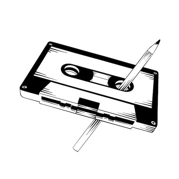 Esboço desenhado de mão de cassete com lápis Vetor Premium