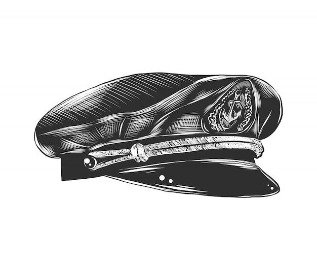 Esboço desenhado de mão de chapéu de capitão em monocromático Vetor Premium