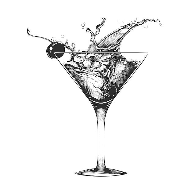 Esboço desenhado de mão de cocktail com salpicos Vetor Premium