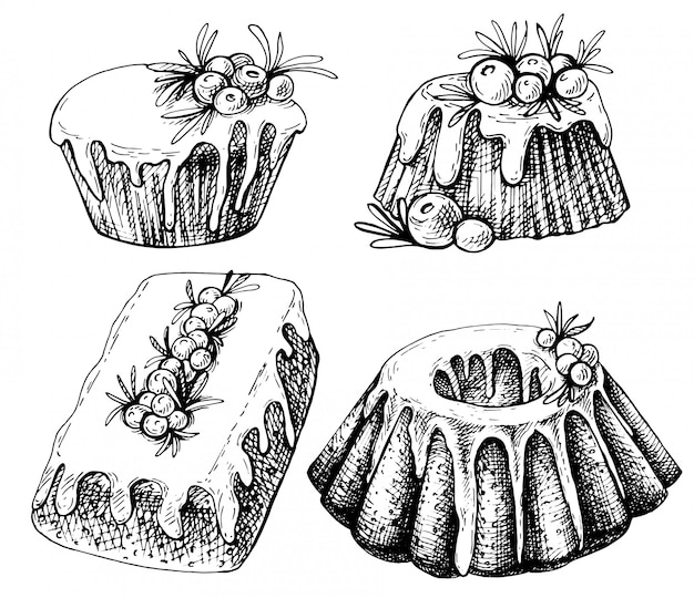 Esboço desenhado de mão de comida tradicional de natal, bolo. ilustração de natal com pudim tradicional. Vetor Premium