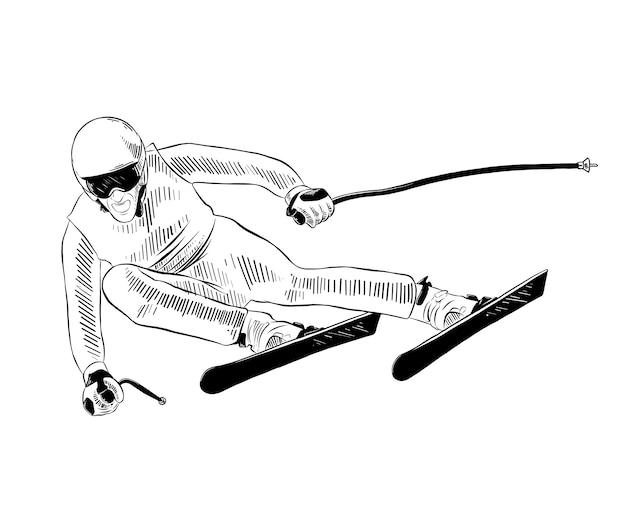 Esboço desenhado de mão de esquiador em preto Vetor Premium