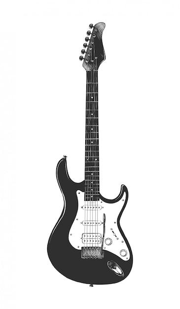 Esboço desenhado de mão de guitarra baixo em monocromático Vetor Premium