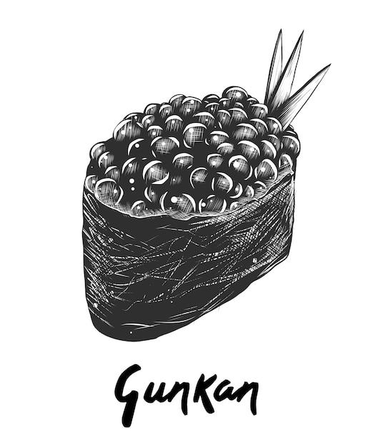 Esboço desenhado de mão de gunkan ikura em monocromático Vetor Premium