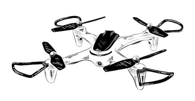 Esboço desenhado de mão de helicóptero em preto Vetor Premium