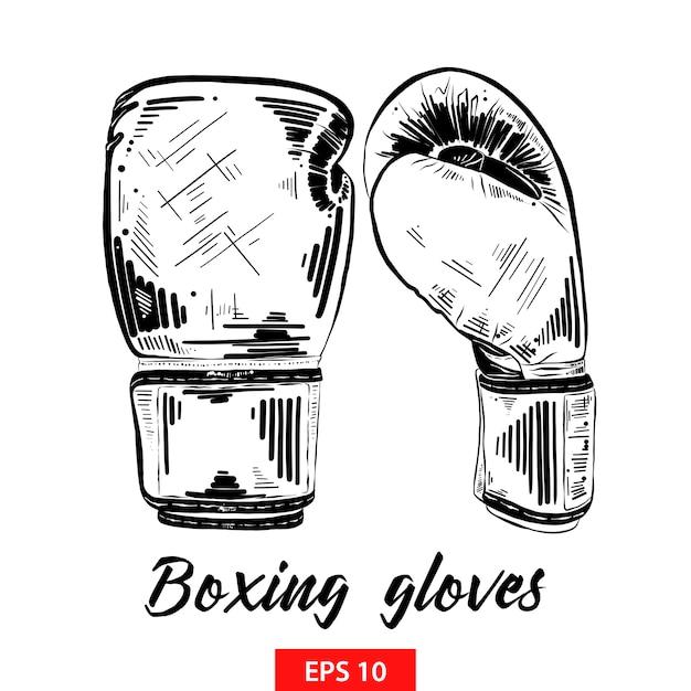 Esboço desenhado de mão de luvas de boxe em preto Vetor Premium