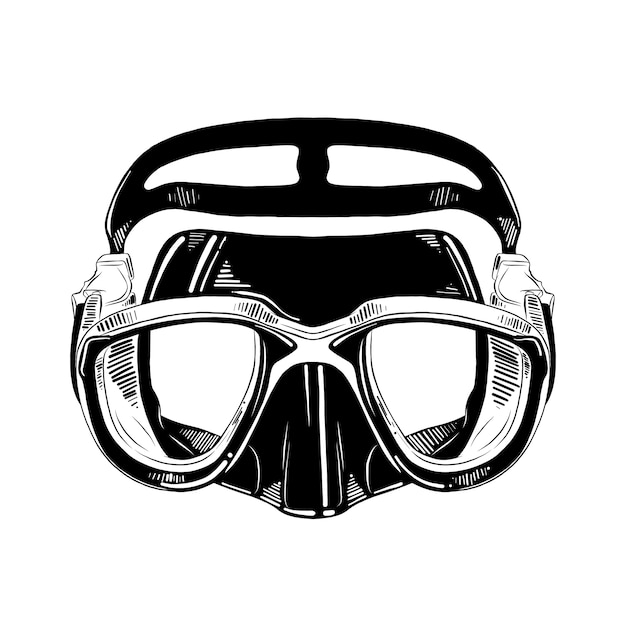 Esboço desenhado de mão de máscara de mergulho em preto Vetor Premium