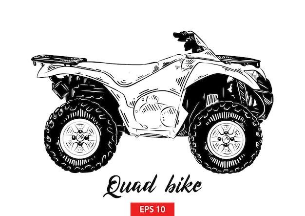 Esboço desenhado de mão de moto-quatro em preto Vetor Premium