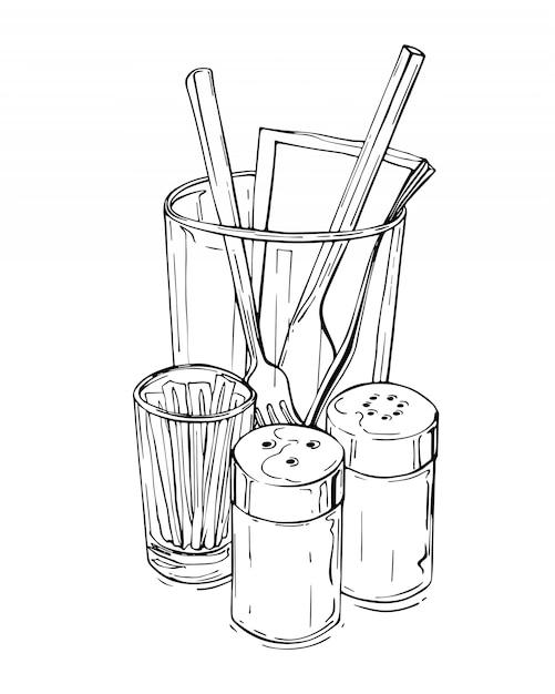 Esboço desenhado de mão de natureza morta com sal e pimenta e talheres isolado no branco Vetor Premium