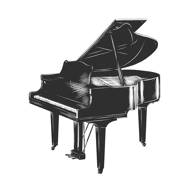 Esboço desenhado de mão de piano em monocromático Vetor Premium