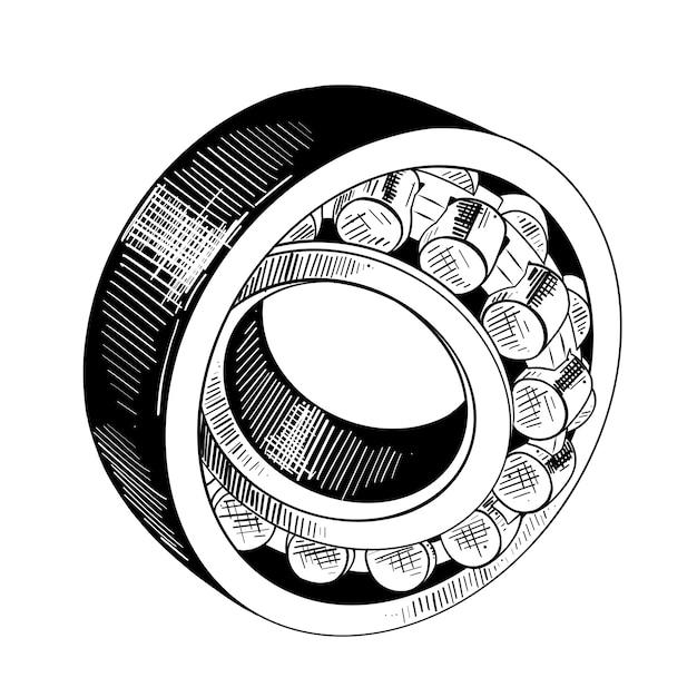 Esboço desenhado de mão de rolamento de metal em preto Vetor Premium