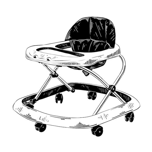 Esboço desenhado de mão do andador de bebê Vetor Premium