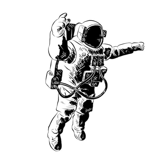 Esboço desenhado de mão do astronauta em preto Vetor Premium