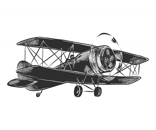 Esboço desenhado de mão do avião em monocromático Vetor Premium