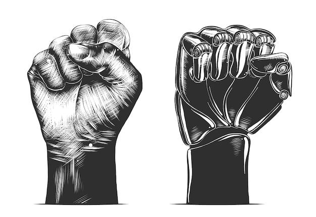 Esboço desenhado de mão do gesto de punho humano e robô Vetor Premium