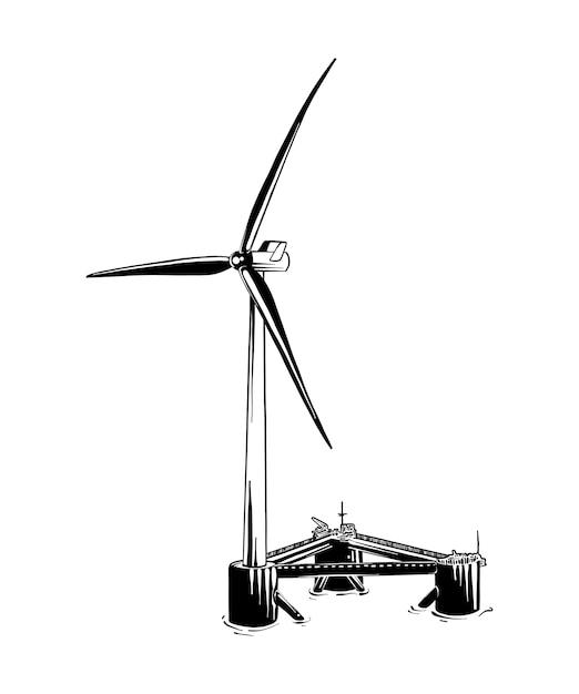 Esboço desenhado de mão do moinho de vento em preto Vetor Premium
