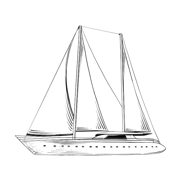 Esboço desenhado de mão do navio do mar em preto Vetor Premium