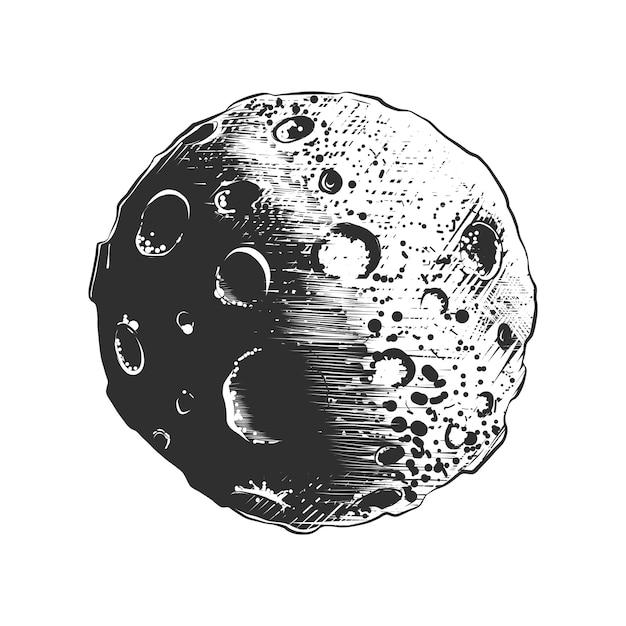 Esboço desenhado de mão do planeta lua em monocromático Vetor Premium