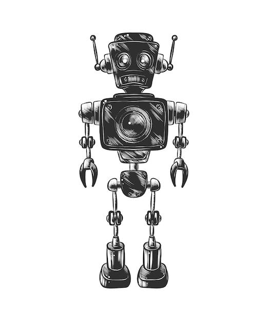 Esboço desenhado de mão do robô em monocromático Vetor Premium