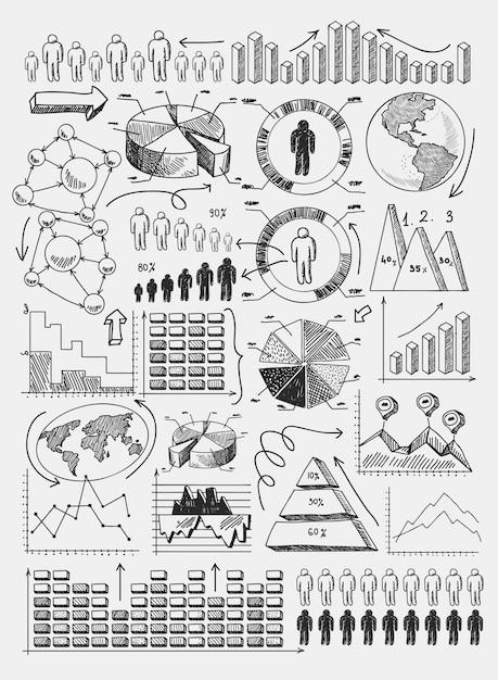 Esboço diagramas infográficos Vetor grátis