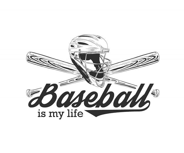 Esboço do capacete de beisebol e morcego com tipografia Vetor Premium
