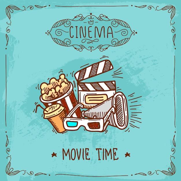 Esboço do cartaz de cinema Vetor grátis