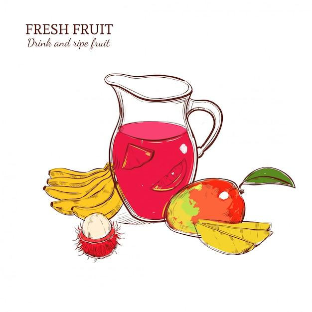 Esboço do conceito de bebida fresca colorida Vetor grátis