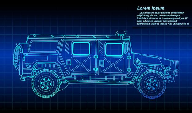 Esboço do esboço do veículo militar. Vetor Premium