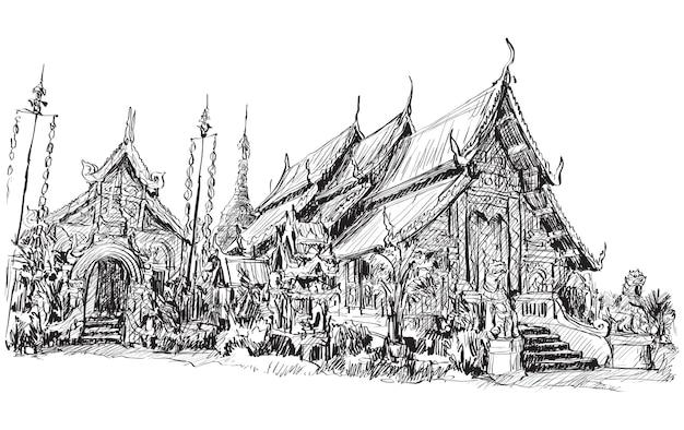Esboço do estilo asiático de templo tailandês em chiangmai Vetor Premium
