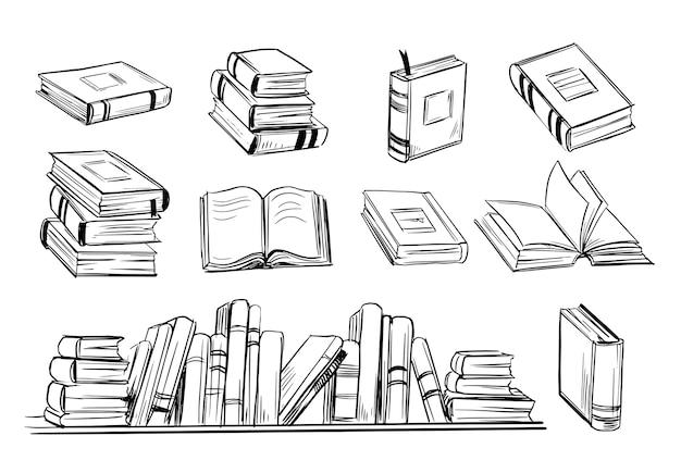 Esboço do livro. conjunto de livros desenhados à mão. Vetor Premium