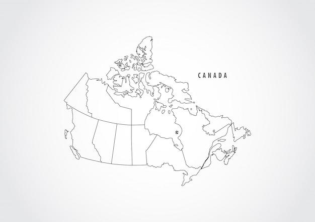 Esboço do mapa de canadá no fundo branco. Vetor Premium