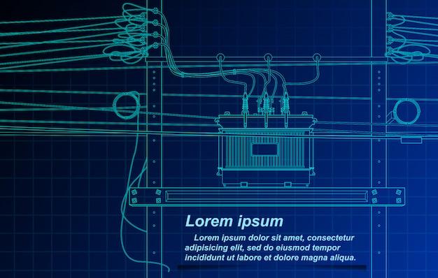 Esboço do transformador e do cabo no fundo do modelo. Vetor Premium